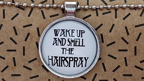 Spruchkette by Perletta 80 cm Kugelkette mit 2,5 cm Anhänger silber Frisör Friseur Haar Wake up and smell the hairspray