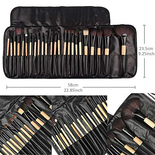 Make up Brushes,Cadrim 24 pcs Natural Hair Professional Makeup Brush Set Travel Makeup Brush Kit with Case (burlywood)