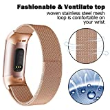 Recoppa Replacement Strap Bands Compatible For Fitbit Charge 3, Stainless Steel Wristbands Smart Watch Bracelet Women Men (Rose Gold, Small)