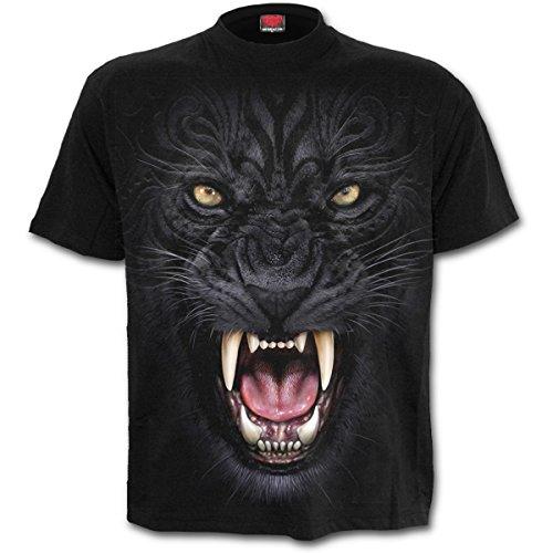 Spiral Tribal Panther T-Shirt Schwarz Schwarz