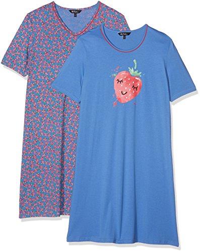 Ulla Popken Damen Nachthemd Big-Shirt 2er Pack, Erbeere Blau (Sky 76), 50 (Shirt Xxl Big Tall And)