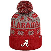 Alabama Crimson Tide Subarctic Cuffed Pom Knit Beanie Hat / Cap by Top of the (Crimson Knit Beanie)
