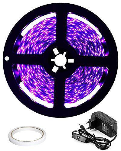 DeepDream 5M UV Schwarzlicht LED Streifen mit Schalter Netzteil,UV LED Strip 300 LEDs Lichtband,Selbstklebend 2835 SMD LED Band für Dekorationsbeleuchtung Haus Party Bar Poster[Energieklasse A+] Uv-led