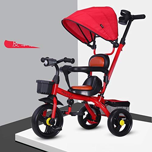 SAHRYTriciclo Bimba, Toys Triciclo Passeggino Pieghevole 3 in 1 con Maniglione Direzionabile E Cappottina Parasole Sede in PU per età 12 Mesi - 6 Anni