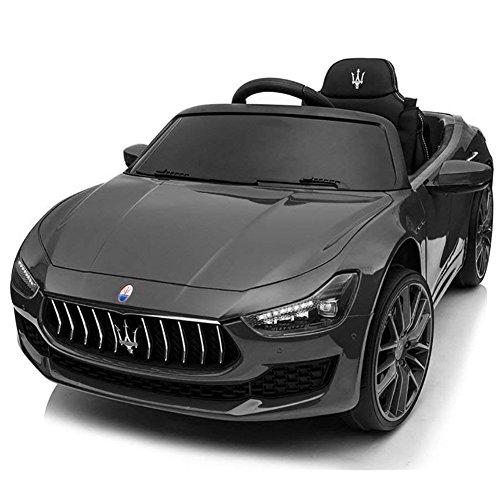 BAKAJI Auto Elettrica per Bambini Macchina Maserati Ghibli Motore 12V Fari Led Funzionanti Luci Suoni Lettore MP3 Cavo AUX Telecomando Controllo a Distanza Dimensione 108 x 56 x 44 cm (Nero)