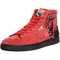 Puma Unisex Suede Mid Classic+ RoarCat Red Leather Boat Shoes - 7 UK
