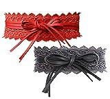 NormCorer 2 Pack Damen PU Taille Schärpe Gürtel Obi für Kleid (Spitze grau & rot)