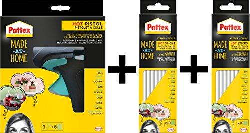 Pattex Heißklebepistole Made at Home / Spar-Set (Klebepistole inkl. 6 Heißklebesticks + 20 Sticks extra)