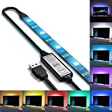RGB USB TV Hintergrundbeleuchtung für HDTV / Gaming PC, 90cm / 35 Zoll LED-Lichtleisten, mehrfarbiges Bias Beleuchtung Kit für Flachbildfernseher Zubehör und Desktop-PC (Reduzieren die Augenermüdung und erhöhen die Bildklarheit)