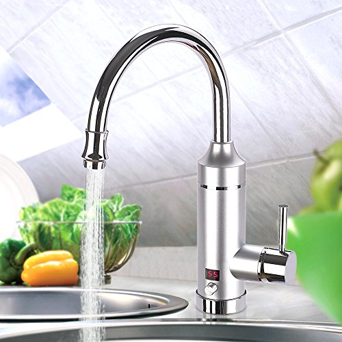 Mr.House(EU-Stecker)360°Drehung,EinstellbareLeistung LED-Digitalanzeige220V,Sofortiger Elektrischer Heizung,Elektrische Wasserhahn,Küchenarmaturen,Küche-Hahn FürHeim-Anlage(Silver)