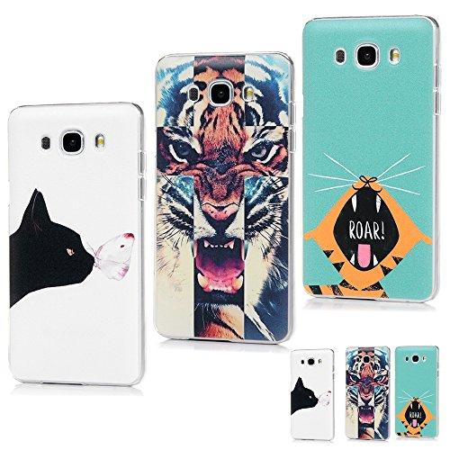 MAXFE.CO 3 x TPU Silikon Hülle für Samsung Galaxy J7 (2016) Handyhülle Schale Etui Protective Case Cover Rück mit Ultra slim Skin Volltonfarbe Design Skin Farbe Schwarzer + Schmetterling + Tigerauge Zähne