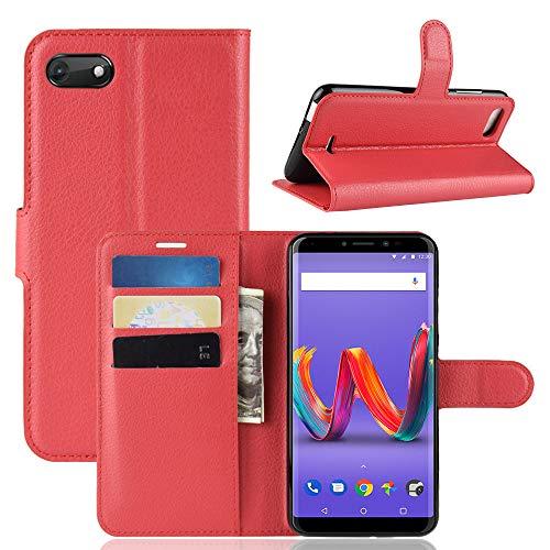 95Street Handyhülle für Wiko Harry 2 Schutzhülle Book Case für Wiko Harry 2 Hülle Klapphülle Tasche im Retro Wallet Design mit Praktischer Aufstellfunktion rot