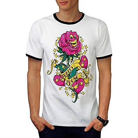 Glücklich Rose Niedlich Mode Blume Mann Herren S Ringer T-shirt   Wellcoda (Glückliche Blumen-halskette)
