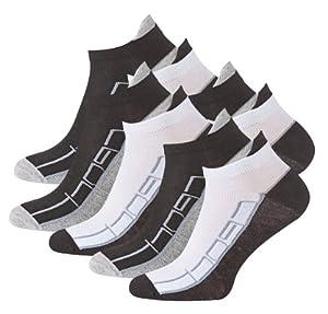 Lot de 8 paires de socquettes - coton et élasthanne - talon ajusté et inscription Sport - pointe remaillée main - bicolore - taille 43/46