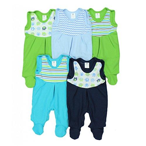 Baby Strampler mit Print 100% Baumwolle Babystrampler Jungen Strampelanzug Mädchen im 5er PACK, Farbe: Junge, Größe: (Strampler Grüner)