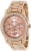 Geneva Platinum Women's 9073.RoseGold.RoseGold Rose-Gold Stainless-Steel Quartz Watch with Rose-Gold Dial