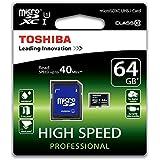 Toshiba High Speed Professional Micro SDXC 64GB Class 10 (bis zu 40MB/s lesen) Speicherkarte schwarz