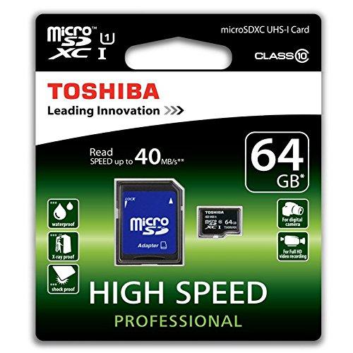 Toshiba High Speed Professional Micro SDXC 64GB Class 10 (bis zu 40MB/s lesen) Speicherkarte schwarz Mp3-player-w Sd-card