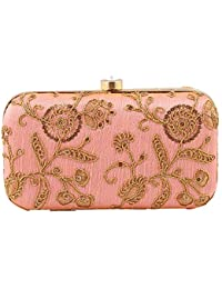 8a17864d2d3e THE TAN CLAN Handicraft Party Wear Hand Embroidered Box Clutch Bag Purse  For Bridal