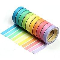 Aofocy 10x Decorative Washi Rainbow Sticky Paper Masking Adhesive Tape Scrapbooking DIY (size1)