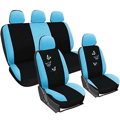 WOLTU AS7244 Set Completo di Coprisedili Auto Seat Cover Universali Protezione per Sedile di Poliestere con Ricamo Farfalle Nero+Blu