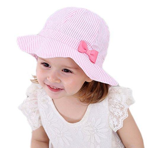 Gifts Treat Mädchen Eimer Hut Sommer Sonnenhut Faltbarer Boonie-Hut aus Baumwolle (Rosa vertikal gestreiften Bogen, 52CM) (Eimer Gestreiften Hut Baumwolle)