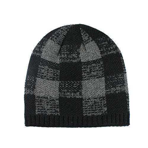 Inawayls Unisex Winter Warm Gefütterte Beanie Wintermütze Damen Herren Angesagtes Strickmuster Fleece-Futter Mütze Einheitsgröße