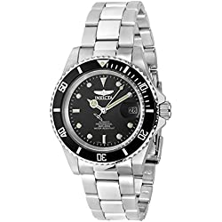 Invicta Pro Diver Men's Automatic Watch with Black Dial Display and Silver Stainless Steel Bracelet 8926OB
