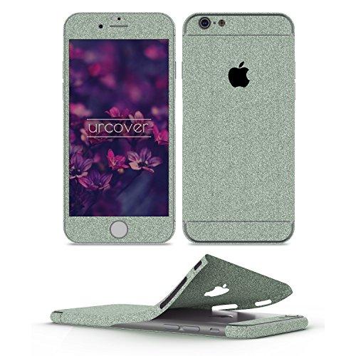 Urcover® Glitzer-Folie zum Aufkleben | Apple iPhone 6 Plus / 6s Plus | Folie in Grün | Zubehör Glitzerhülle Handyskin Diamond Funkeln Schutzfolie Handy-Schutz Luxus Bling Glamourös