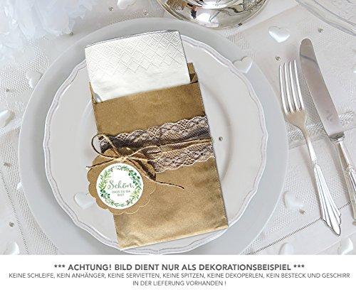 BRAUN 130 x 95 mm + 24 Sticker SCHÖN, DASS DU DA BIST GRÜN ZWEIGE RETRO 4cm matt rund • Serviettenhalter Gastgeschenk Tischdeko Hochzeit Familienfeier Geburtstag Weihnachten ()