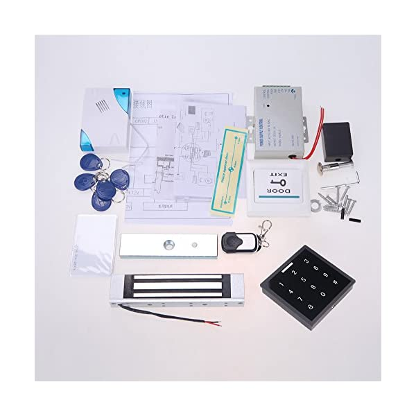 kkmoon Kit RFID Access Control Door 180 kg/396LBS Electric Magnetic Lock  Pin Card + Remote Control + Doorbell + Exit Button DIY