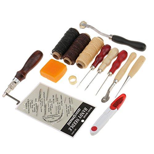 Prettyia 13 Stück Leder Werkzeug Ledernadeln Handwerk Handnähen Tool Kit Nähen Werkzeug