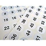 Plateado 25mm Redondo Consecutivos, Sequential Número Secuencia Etiquetas, Numeración Adhesivos, de 1-70