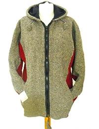 Fleece Lined Natural Grey with Red Underarm Handknitted Woollen Jacket - Fair Trade