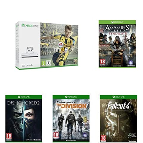 Pack Console Xbox One S 500 Go + Fifa 17 + Assassin's Creed : Syndicate - édition spéciale + Fallout 4 + The Division + Dishonored 2