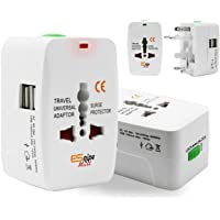 ESnipe Mart Worldwide Travel Adapter with Build in Dual USB Charger Ports Ports with 125V 6A, 250V Surge/Spike Protected Electrical Plug (Multi Color Multi Design)