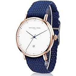 Women Rose Gold Watches with White Dial Date Nylon Watch Bands