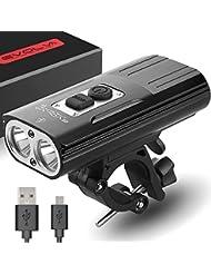 Versión Actualizada de la Evolva Future Technology Recargable X8 Bike Light 1800 Lumen USB Cree LED faro bicicleta luz (Versión Actualizada)
