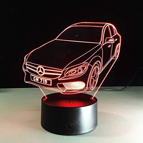 BEITAI Nachtlicht Nachttischlampe Mercedes-Benz Car Styling USB Plug-In Bunte Farbe LED Lichter Geschenk Dekoration (Color : 7color+remotecontrol) -