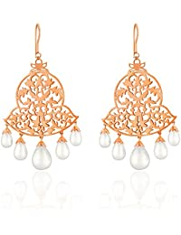 Ahilya Jewels Imperial Filigree Collection .925 Sterling Silver Rose Gold Plated Earring