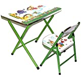 TruGood Kid's Study Table And Chair Set (Folding Green)