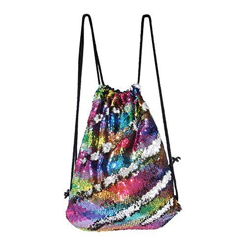 DrCosy Meerjungfrau Pailletten Tasche Kordelzug Pailletten Rucksack Glitter Meerjungfrau Rucksäcke Magie Tanz Taschen für Kinder Erwachsene (35X45cm,Bunte Welle/Silber)