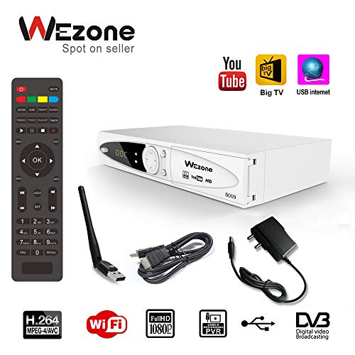 Wezone DVB-S2 Satellite TV Receiver 8009 Set Top Box HD H264 Support PVR and Playback via USB, Support Internet from Mobile, 2 USB Ports, FTA Channels