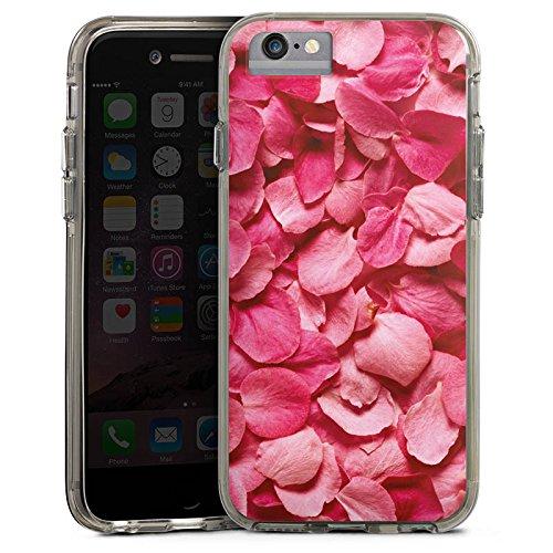 Apple iPhone 7 Bumper Hülle Bumper Case Glitzer Hülle Rosenblaetter Pink Hanami Bumper Case transparent grau