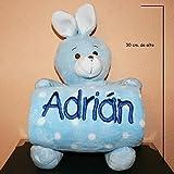 PRIMERAEDAD/Peluche conejo más manta personalizada con nombre bebé/color celeste/