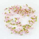 ulofpc 5m Perle Rose Fleur Perles chaîne Guirlande Garniture Couture Robe de mariée décoration de fête