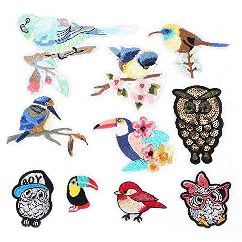 10 STÜCKE Vögel Form Tuch Patches, DIY Kleidung Ausbessern Zubehör Cartoon Stickerei Kleidung Aufkleber Aufbügeln Patch für Jacken Rucksäcke Jeans Kleidung Adorable Jeans