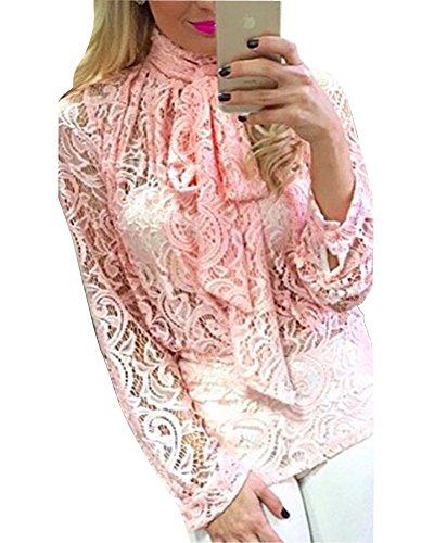 Donna Camicetta Maliga Blusa Manica Lunga Elegante T-shirt Casual Ufficio Cravatta Arco Pizzo Pink