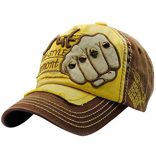 UFACE Stickerei-Buchstabe-Faust-Niet-Baseballmütze-Visier Sommer-Niet-Kappen-Hüte für Männer Frauen (Braun)