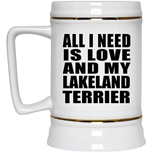 Lakeland Stein (All I Need Is Love And My Lakeland Terrier - Beer Stein Bierkrug Keramik Bierhumpen Bar Becher Kneipenkrug - Geschenk zum Geburtstag Jahrestag Muttertag Vatertag Ostern)